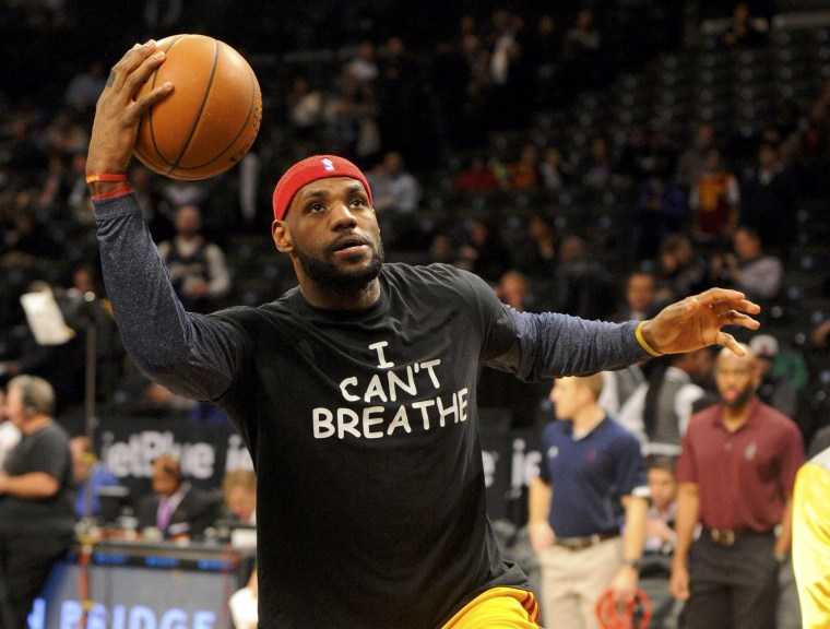 """Image: Cleveland Cavaliers forward LeBron James wears an """" I Can't Breathe"""" t-shirt during warm ups prior to the game against the Brooklyn Nets at Barclays Center in New York City"""