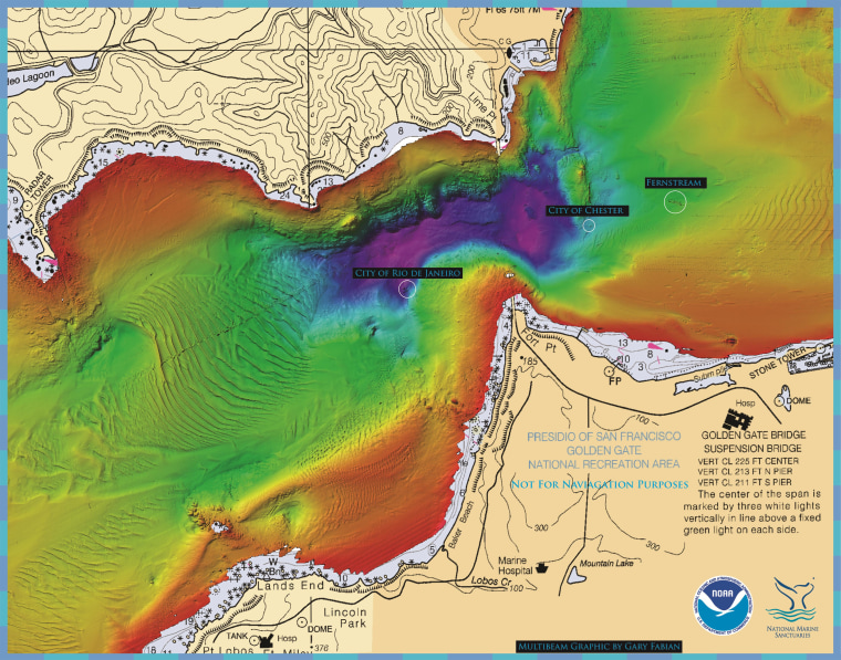 Image: Sonar map of waters around San Francisco's Golden Gate