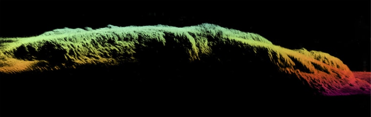 A three-dimensional sonar profile view shows the broken remains of the SS City of Rio De Janeiro just outside San Francisco's Golden Gate. The image was made with Coda Octopus' Echoscope sonar.