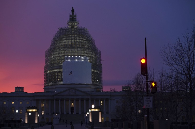 Image: The dome of the US Capitol is seen at dusk