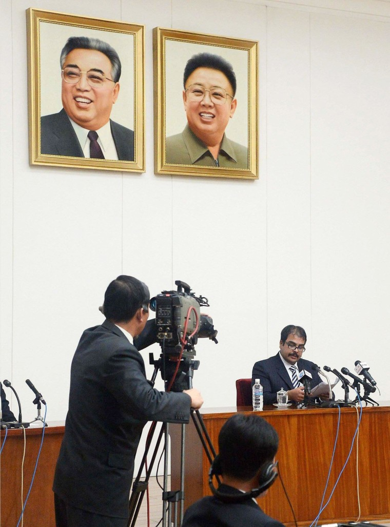 Image: U.S. citizen speaks during a news conference in Pyongyang