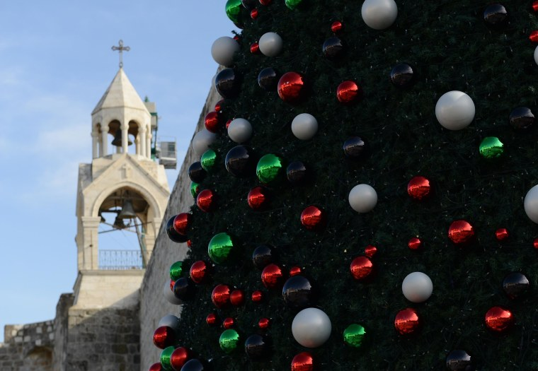 Image: A Christmas tree in the West Bank town of Bethlehem
