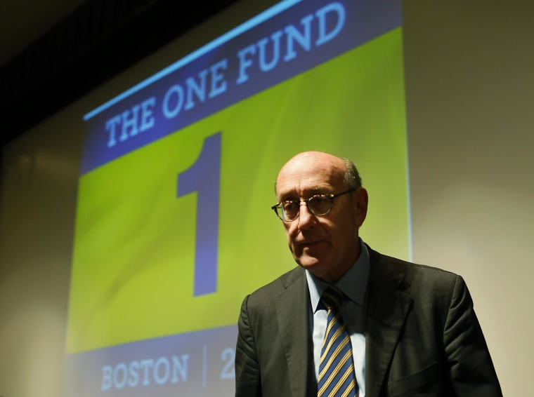 "Image: Ken Feinberg, administrator for ""The One Fund, Boston,"" waits to begin a town hall style meeting about the fund in Boston"