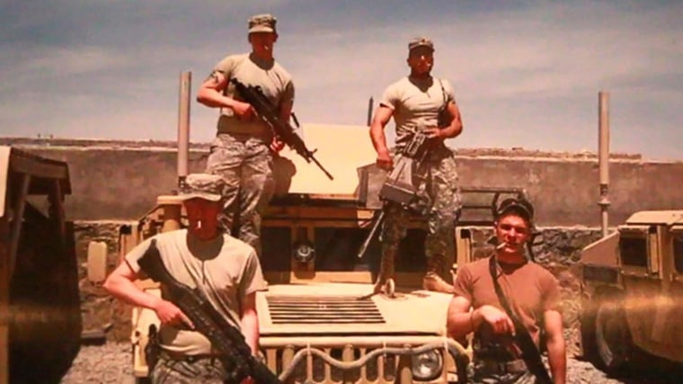 Mike Kacer, top right, with fellow soldiers in Afghanistan shortly before his 2008 injury.