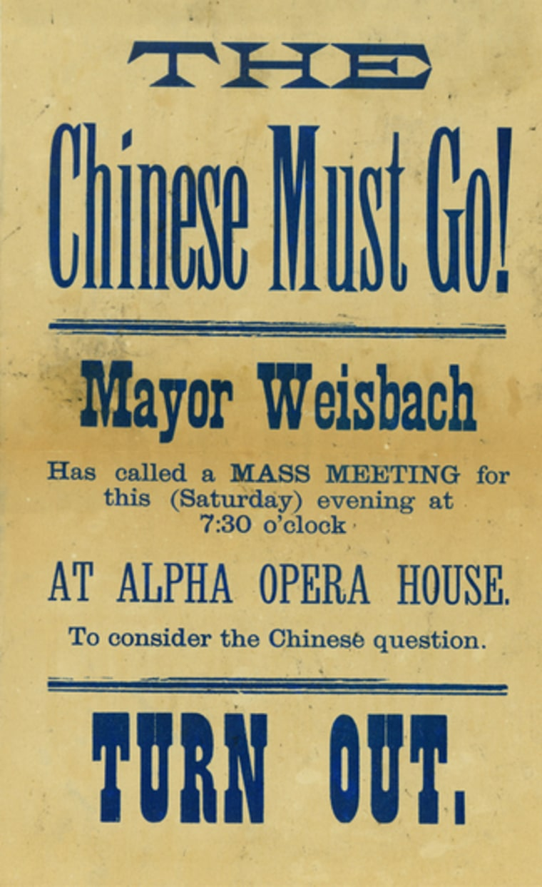 Poster seen in Washington state in the 1880s.