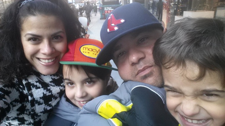 Image: Carmen Sanchez, 33, with (left to right) her son, Jacob, 10, her husband, Adonis, 39,  and son, Sean, 7