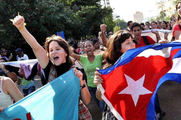 Image: Cubans celebrate on Wednesday