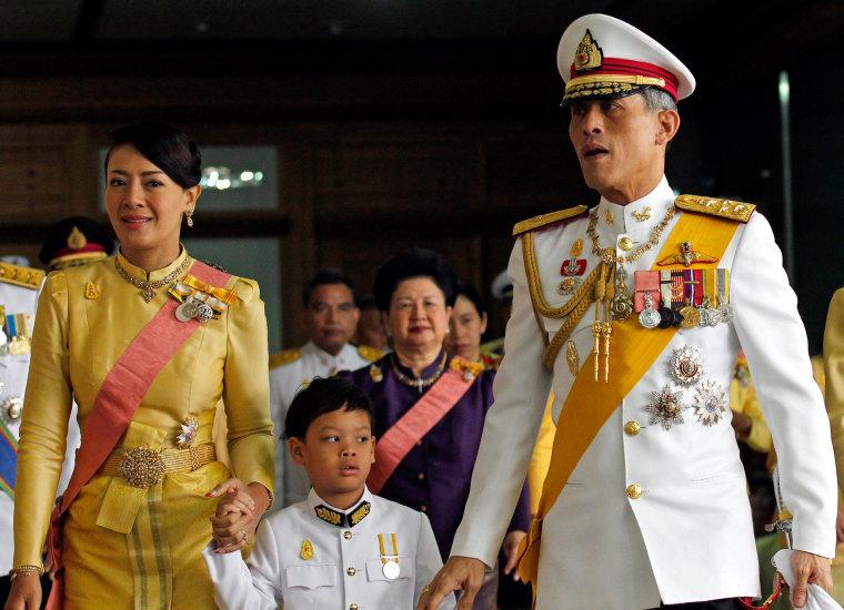 Image: Princess Srirasm, Prince Dipangkorn Rasmijoti and Crown Prince Maha Vajiralongkornon