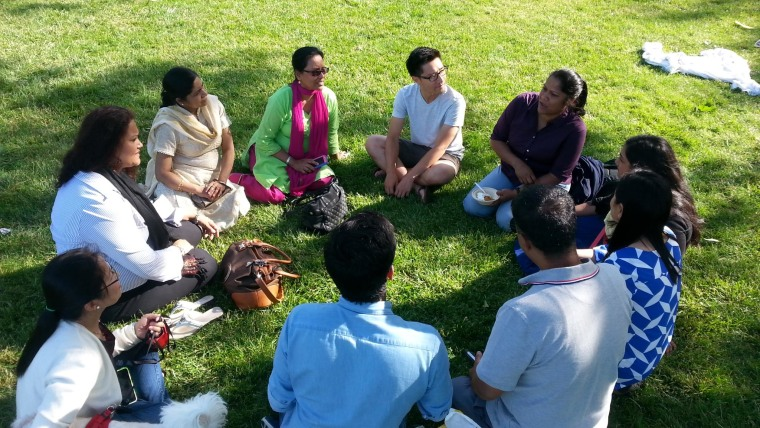 Lending Circle participants meeting with staff of Chhaya CDC and Mission Asset Fund in Jackson Heights, NY.