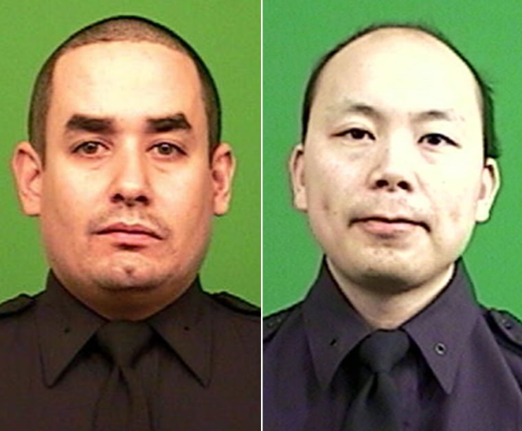 New York City Police Department officers Rafael Ramos, left, and Wenjian Liu, right, were killed in the attack.