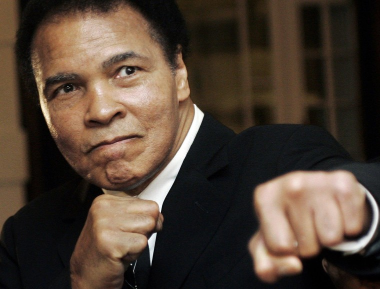 Image: File photo of U.S. boxing great Muhammad Ali posing at the World Economic Forum in Davos