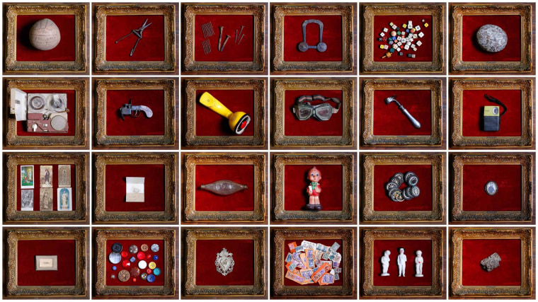 Image: A combination picture shows items collected by Italian collector Domenico Agostinelli, displayed in his museum in Dragona
