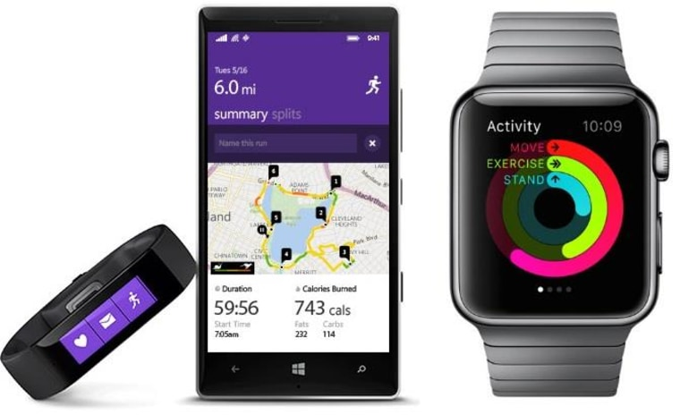 The Microsoft Band and Apple Watch will be seen on a many a wrist in 2015.