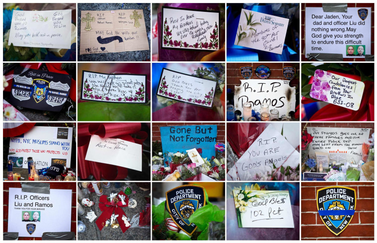 Image: This combination image shows signs of support left at a makeshift memorial at the site where two police officers were shot in the head in the Brooklyn borough of New York