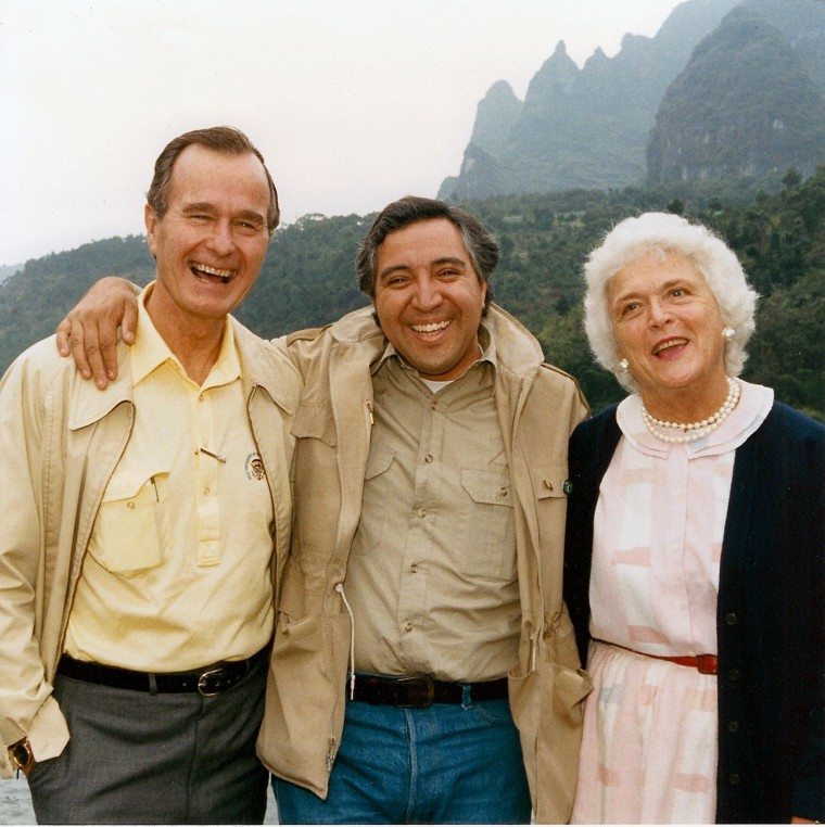 President Bush with David Valdez and Barbara Bush in China