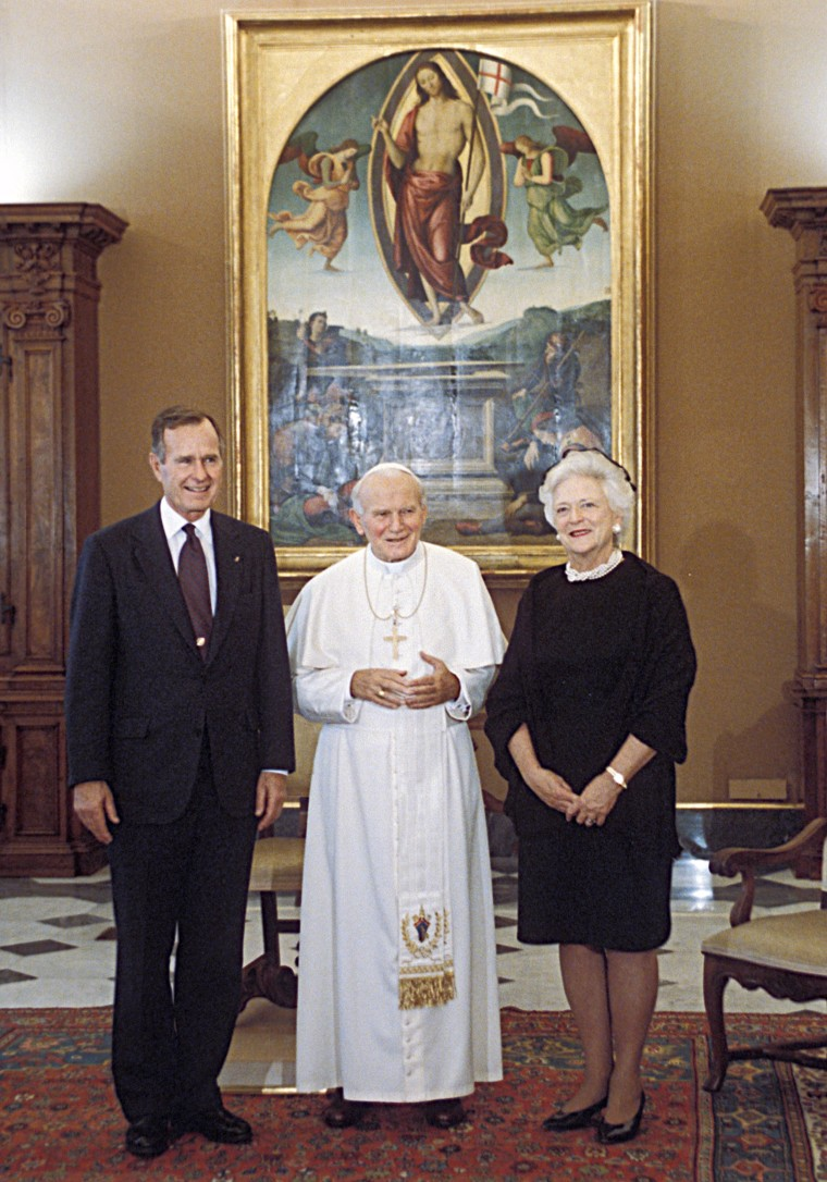 President and Mrs Bush with Pope John Paul II, one of the many historic moments recorded by White House photographer David Valdez.
