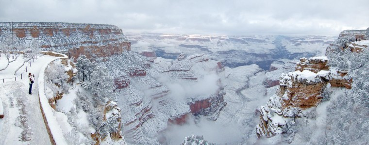 Snow covers the South rim of the Grand Canyon on the morning of Jan. 1, 2015. The snow was expected to melt fast but it was still visible in live webcam views of the park on Friday.