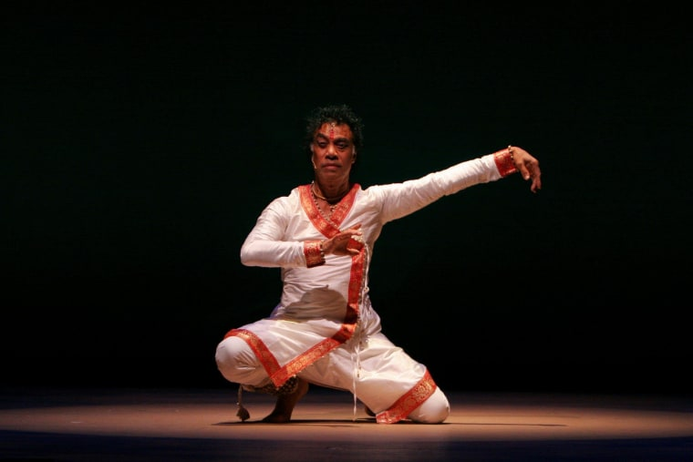 Pandit Chitresh Das during a solo Kathak performance in the San Francisco Bay Area.