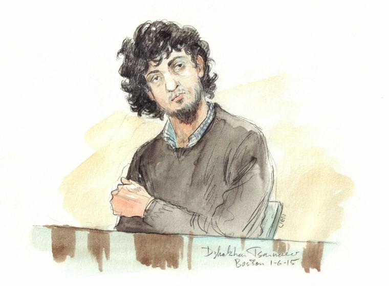Image: Artist rendering of accused Boston Marathon bomber Dzhokhar Tsarnaev during jury selection in Boston.
