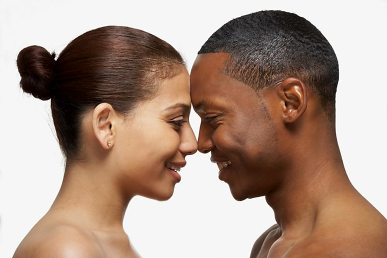 African American couple touching noses