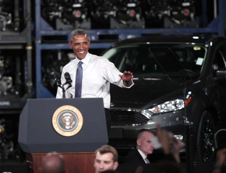 Image: President Obama Speaks On Automotive And Manufacturing Industry At Ford Michigan Assembly Plant