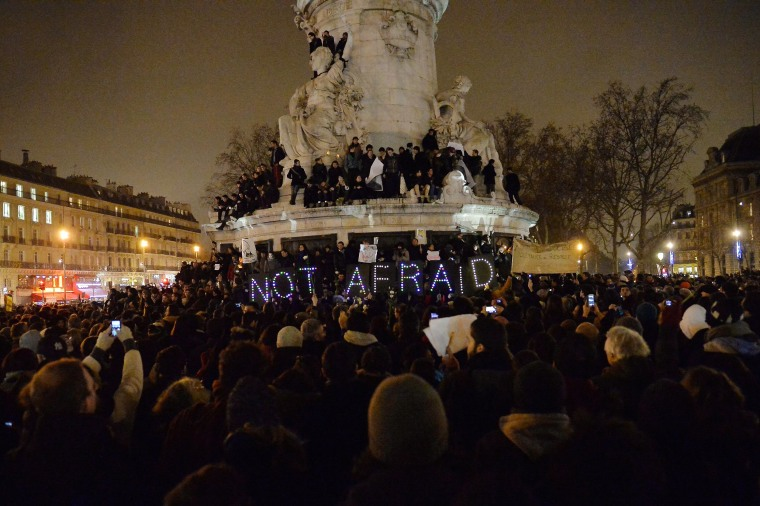 Image: Tribute To Victims Killed During Attack At Satirical Magazine Charlie Hebdo At Place De La Republique In Paris