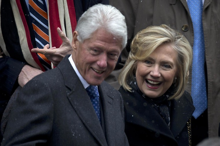 Image: Former U.S. President Bill Clinton and former U.S. Secretary of State Hillary Clinton depart the former Governor of New York Mario Cuomo's funeral in Manhattan