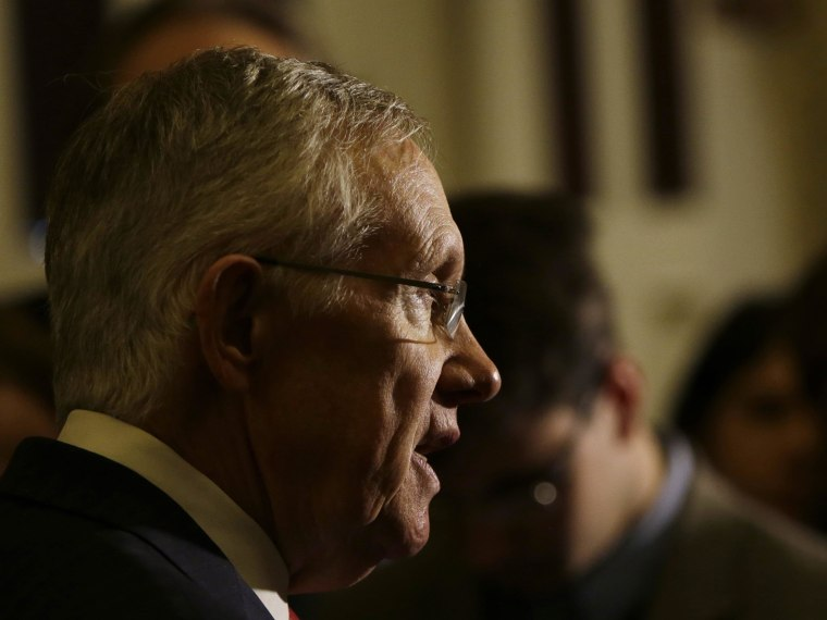 Image: Senate Majority Leader Reid speaks to reporters on upcoming budget battle in Washington
