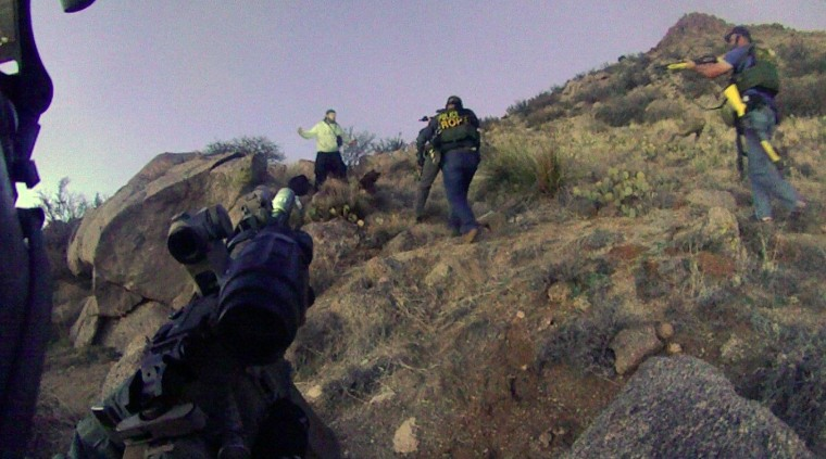 Image: Albuquerque Police standoff with an illegal camper in the Albuquerque foothills