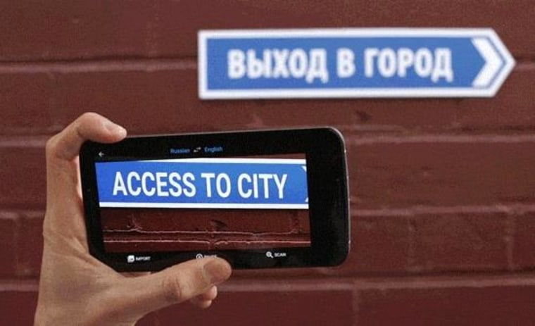 """The """"Word Lens"""" feature in action, instantly translating a sign in view."""