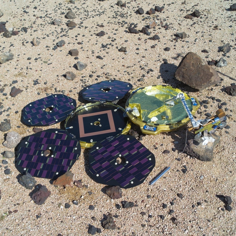 A model of the Beagle 2 lander lies on a simulated Martian surface at NASA's Johnson Space Center in Houston.