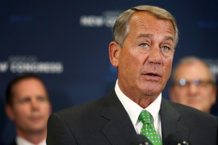 U.S. House Speaker John Boehner (R-OH) speaks to reporters at a news conference following a Republican caucus meeting at the U.S. Capitol in Washington in this file photo from January 7, 2015. An Ohio bartender, Michael Hoyt, is suspected of having contemplated poisoning John Boehner and has been charged with threatening to murder a U.S. official, court documents showed January 13, 2015.  REUTERS/Jonathan Ernst/Files     (UNITED STATES - Tags: POLITICS)