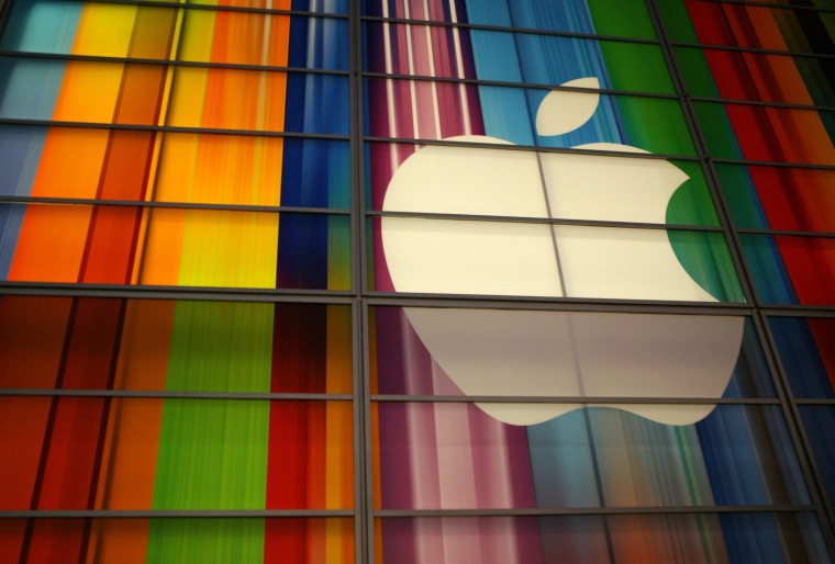 The Apple logo is seen in this September 11, 2012, file photo at the Yerba Buena Center for Arts in San Francisco.