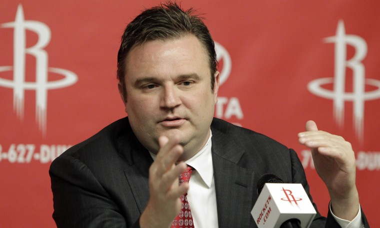 Houston Rockets general manager Daryl Morey discusses the direction of the team with the media in 2011.