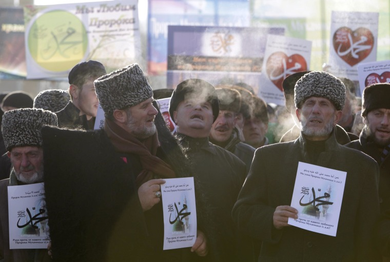 Image: Protest against satirical cartoons of Prophet Muhammad in Grozny, Chechnya