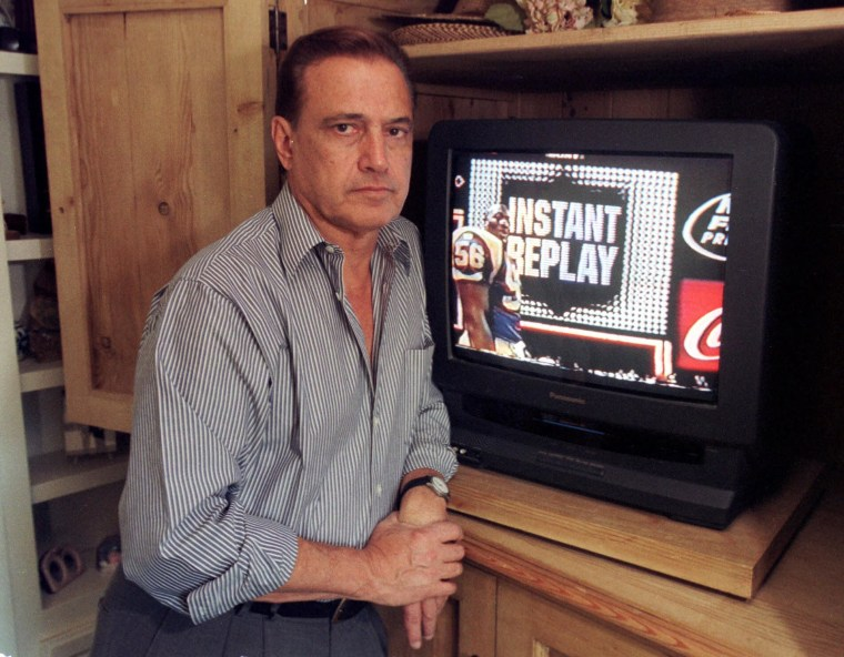 Image: Tony Verna poses in his home in Pacific Palisades, Calif. on  Nov. 26, 1999.