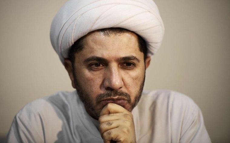 Image: the head of Bahrain's influencial Al-Wefaq opposition bloc, Sheikh Ali Salman,