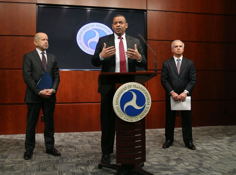 Image: Transportation Sec'y Foxx And FAA Administrator Hold News Conference