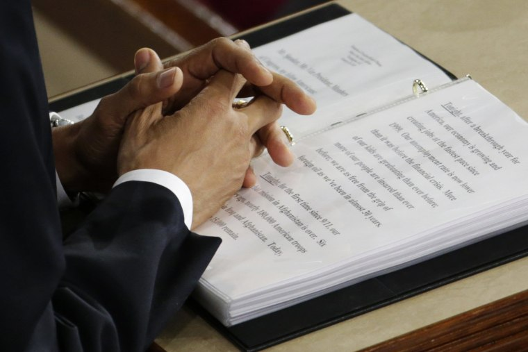 Image: President Barack Obama prepares to give his State of the Union address