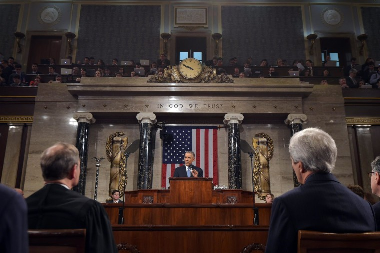 President Barack Obama delivers his State of the Union address to a joint session of Congress on Capitol Hill on Tuesday, Jan. 20, 2015, in Washington. (AP Photo/Mandel Ngan, Pool)