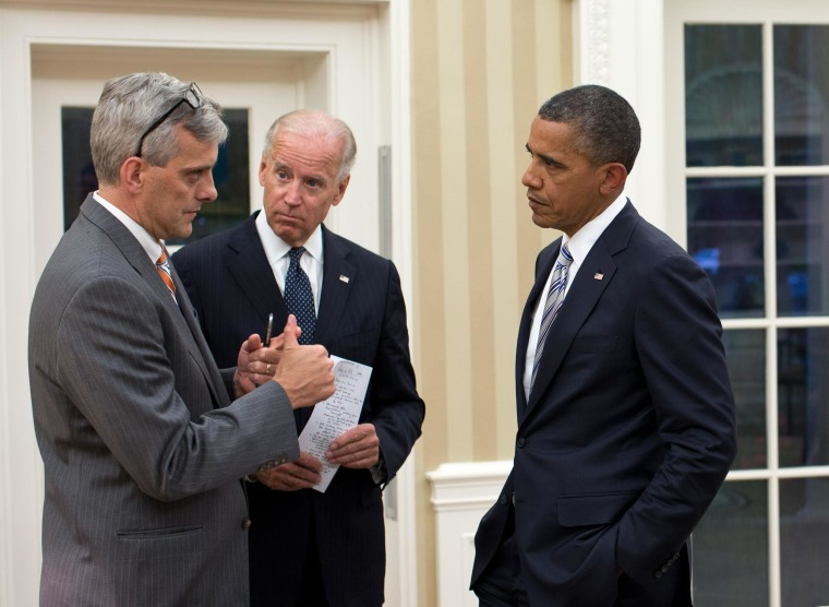 """Sept. 11, 2012 """"Denis McDonough, Deputy National Security Advisor, left, updates the President and Vice President on the situation in the Middle East and North Africa.  National Security Advisor Tom Donilon and Chief of Staff Jack Lew are at right.""""  (Official White House Photo by Pete Souza)  This official White House photograph is being made available only for publication by news organizations and/or for personal use printing by the subject(s) of the photograph. The photograph may not be manipulated in any way and may not be used in commercial or political materials, advertisements, emails, products, promotions that in any way suggests approval or endorsement of the President, the First Family, or the White House."""