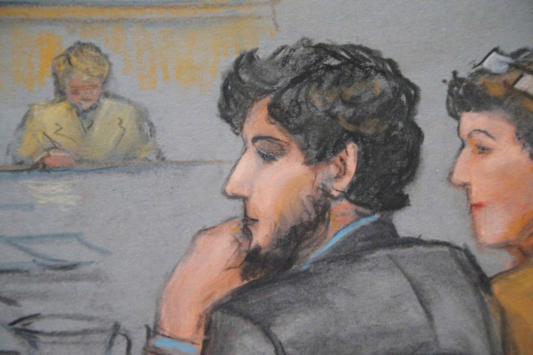 Image: Courtroom sketch shows Boston Marathon bombing suspect Tsarnaev during the jury selection process in his trial at the federal courthouse in Boston