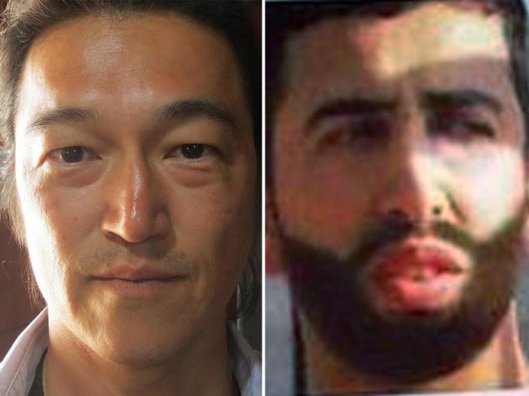 Japanese hostage Kenji Goto Jogo, left, and captive Jordanian pilot Mu'adh al-Kasasibah