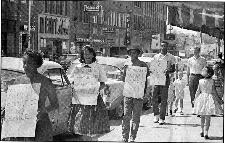 Civil Rights protesters march in Rock Hill, South Carolina, 1961.