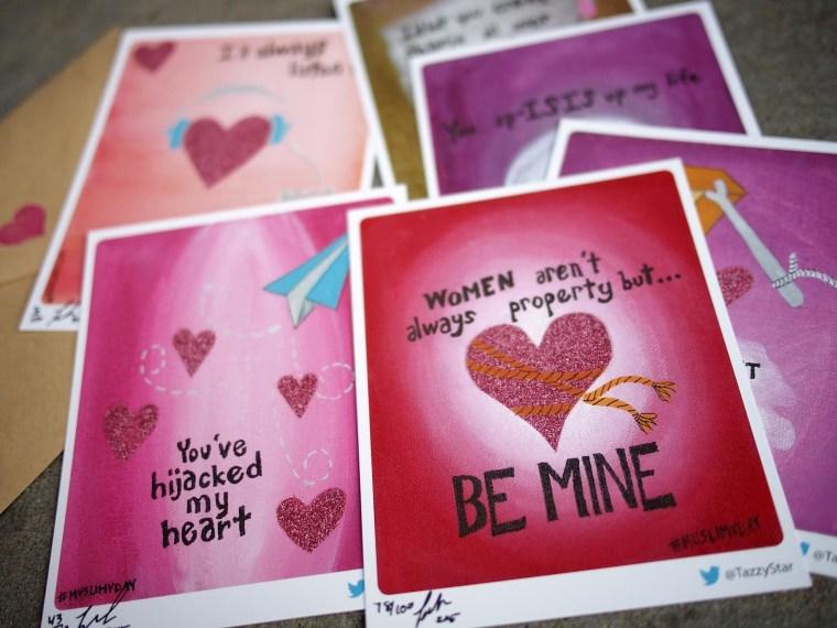 "A sampling of Taz Ahmed's ""Muslim VDay"" cards."