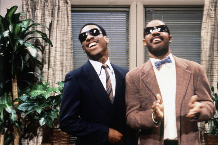 Image: Eddie Murphy and Stevie Wonder appear on Saturday Night Live in 1981