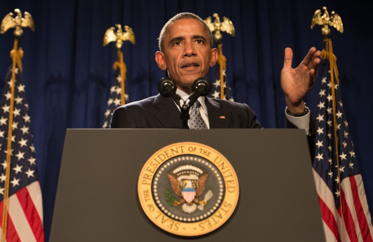 President Barack Obama addresses the House Democratic Caucus in Philadelphia on Thursday.
