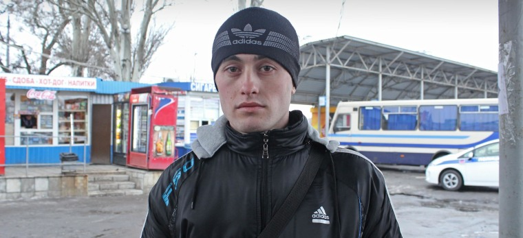 Image: Vitaly, 21, at Donetsk's bus station