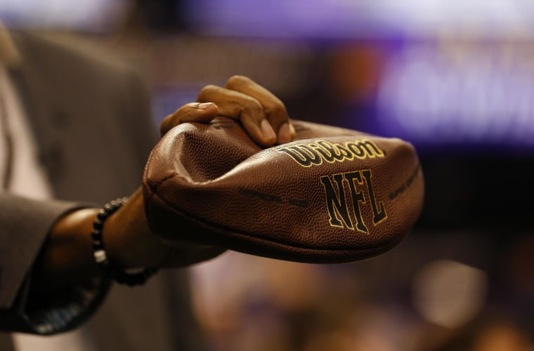 A detail view of a deflated football is seen during media day for the NFL Super Bowl XLIX football game
