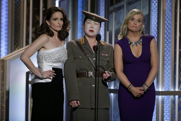 Image: Actors Tina Fey, Margaret Cho and Amy Poehler peform a comedy sketch at the 72nd Golden Globe Awards in Beverly Hills